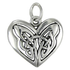 Sterling Silver Celtic Love Knot Heart Pendant Charm Irish Knotwork Jewelry