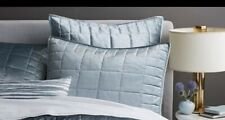 West Elm Washed Cotton Blue Platinum Velvet Full queen Duvet and 2 Shams