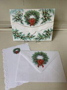 RARE Vintage Carol's Rose Garden EMBOSSED Holiday Pine Wreath Folio Set/10 !