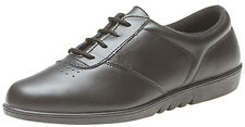 Womens Ladies Leather Lace Up Casual Non Slip Shoes Trainers Size 3 - 9 BLACK