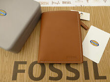FOSSIL Wallet UPRIGHT Style RAMSEY Saddle Travel Leather Coin Wallet Tin RRP£45