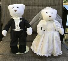Rare Gund Plush Bears Beautiful Bride & Gorgeous Groom On Display Stands Euc