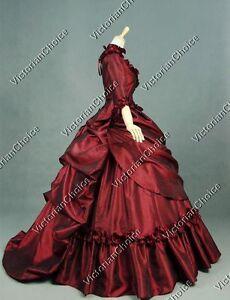 Victorian Gothic 5-PC Bustle Queen Taffeta Ball Gown Dress Theater Costume 330