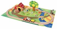 Wooden Railway Set Toy 45 Piece Wood Train Bino Country Side Ages 3+ New Toy Fun