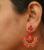 Indian Red Kundan Gold Jhumka Earrings New Ethnic Bollywood Bridal Jewelry Set