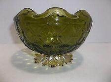 Vintage Green Glass ROSE BOWL Vase Quilt Pattern METAL Stand