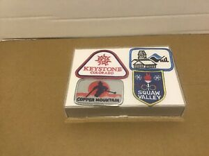 """Set Of Four Ski Patches In Acrylic Display Case 7""""x5""""x1"""""""