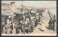 Postcard Guernsey Channel Islands steam ship Landing at Guernsey posted 1904 JWS