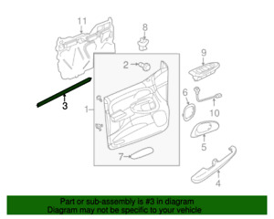 Front Door inner Sealing Strip Chevrolet Trailblazer 02 - 09 GM OEM 15192232