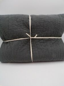 Pottery Barn Belgian flax Linen Handcrafted Quilt Cal King Charcoal Gray #8020K