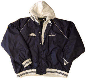 RedHead 2XL Mens Coat Zipper Hood Hoodie Mako Marine Navy/Grey VTG Embroidered