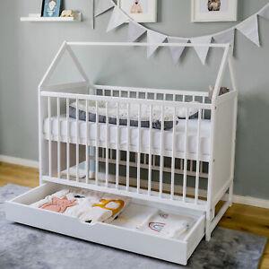 Babybett Beistellbett Kinderbett und Hausbett in einem 120x60 weiß mit Schublade