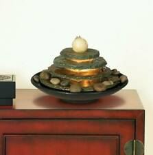 """Zen Indoor Tabletop Water Fountain with Light 10"""" 4 Tiered for Table Desk Home"""
