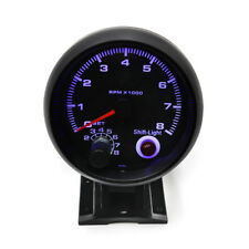 3.75'' Car Meter Tachometer Tacho Gauge Blue LED with Shift Light 0-8000 RPM