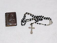 Vintage Child Rosary Alpacca German Metal Bible Box Holder Sacred Heart German