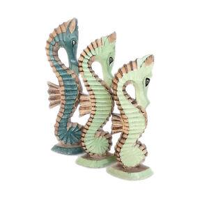 Set of 3 Nautical Shabby Chic Sea Horses Hand Made Abesia Wood Fair Trade