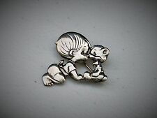 """Vintage Precious Moments 1"""" Sterling Silver Baby with Teddy Bear Brooch Pin"""