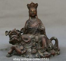 "8.9"" Chinese Bronze Ksitigarbha Boddhisattva Netherworld Leader Ridw Lion Statue"