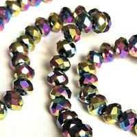 Size 6x4mm. 50 x Rainbow Coloured Electroplated Faceted Glass Abacus Beads