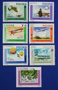 Z80 POLAND 1984 Airplanes, Air Flight Pioneers, set of 7 stamps Mint NH