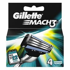 Gillette Mach 3 Shaving Razor Refill Blade Cartridges Genuine Pack of 12 Blades