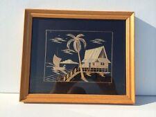 Paysage Indochinois encadré - Collage de paille de riz sur soie - 23 x 28 cm