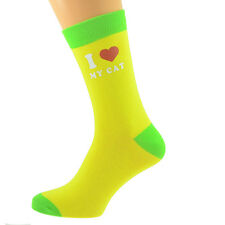 Yellow & Lime Green Unisex Socks I Love My Cat UK Size 5-12 X6N621