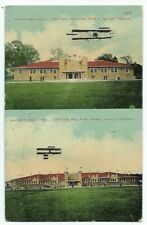 Waco Texas TX 1910 postcard BiPlane at Cotton Palace Park Poultry Machinery Hall