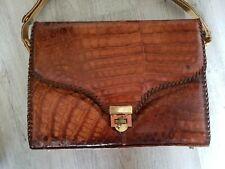 Vintage Genuine Alligator ETCO Crocodile Leather Shoulder Purse Bag
