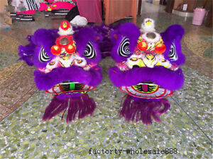 Lion Dance Mascot Costume Wool Southern Purple Lion China Folk Art For Two Adult