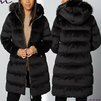 NEW Womens VELVET PADDED LADIES PARKA COAT Quilted WINTER JACKET WARM FUR Size