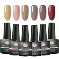 6 Bottles MEET ACROSS Nail Gel Polish Set Glitter Pure UV Soak Off Varnish 8ml