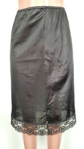 Vtg Sears1980's Sissy 3XL Nylon Lace Half Slip Black Made USA