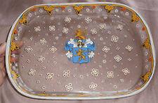 Plateau néo gothique verre émaillé polychrome - Armoiries blason écu Lion Heaume