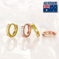 Elegant 18K Gold Filled GF GP Huggie Hoop Earrings With Zircon CZ Crystal