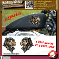 Stickers Autocollant aigle motard guerrier  harley bobber moto custom sportive