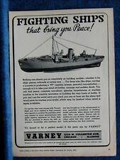 1943 Varney Model Ship Ad Print Ww2 Fighting ship Shown - Model Craftsmen