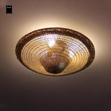 Bamboo Wicker Rattan Hat Ceiling Light Fixture Vintage Industrial Retro Lamp