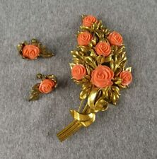 Vintage Goldtone Carved Coral Celluloid Rose Brooch and Earrings