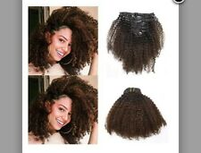 """Anrosa Extension Curly Hair Clip in Extensions Real Afro Kinky ins Human 14"""""""