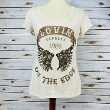 Express Lovin On The Edge Sequin Graphic T Shirt Small