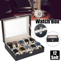12 Slot Leather Watch Box Display Case Organizer Glass Jewelry Storage Holder US