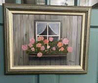 Framed Painting Flower Box Window Barn Siding Geranium Flowers Signed Cottage