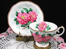 QUEEN ANNE CAMELLIA LARGE PINK FLORAL TEA CUP AND SAUCER TEACUP
