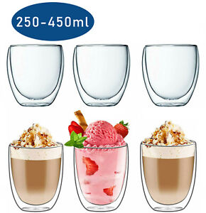 6x Doppelwandige Thermo Gläser 250,350,450ml Latte Macchiato Cocktail Kaffee Tee