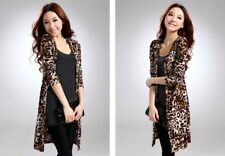 Cardigans Women's Leopard Print Shawl 3/4 Sleeve Wrap Around Jacket Coats BNWT