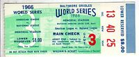 1966 World Series ticket Los Angeles Dodgers @ Baltimore Orioles, G 3 ~ Blair HR