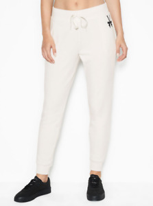Victoria Secret Joggers Womens XL New VSX Stretch Fleece Mid Rise White Ivory