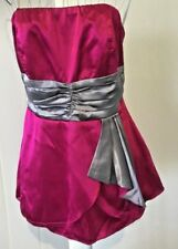 Ladies Top Strapless Pink Silver Satin Look Sz 10Au GUC-VGUC
