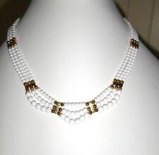 Vintage Mutli Strand White Gold Tone Necklace